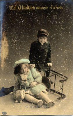 German children fashion costumes and dresses. Winter ski clothing.