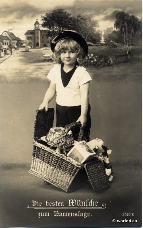 Vintage sailer dress. German children dresses. Retro kids costumes.
