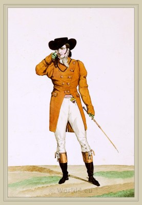 Dandy Costume Bateau. France directoire, regency era fashion.