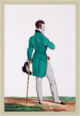 Dandy costume. Chapeau en Barque. France directoire, regency era fashion. Horace Vernet