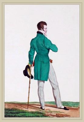 Dandy costume. Chapeau en Barque. France directoire, regency era fashion. Horace Vernet