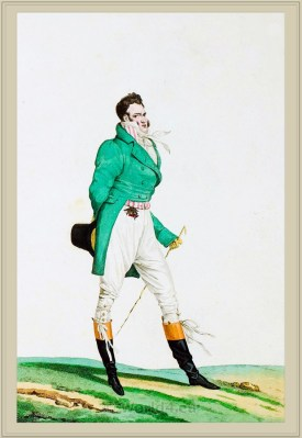 Costume Habit vert saute culotte de Casimir. French Incroyables clothing. France directoire, regency era fashion.