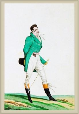 Costume Habit vert saute culotte de Casimir. French Incroyables clothing. France directoire, regency era fashion.