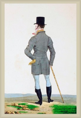 Costume Habit court a taille basse et carrée. Incroyables. France directoire, regency era fashion. Horace Vernet.