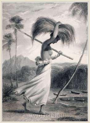 Female Peasant. Ceylon, 18th century. Sinhalese Sri Lanka traditional costumes