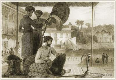 Traditional India Mughal empire costumes. Mohammedan Mohamedan Chobdar dress.