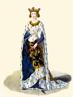 Marie of Hainaut. French medieval fashion. Nobility gown. Queens costume. Middle ages clothing