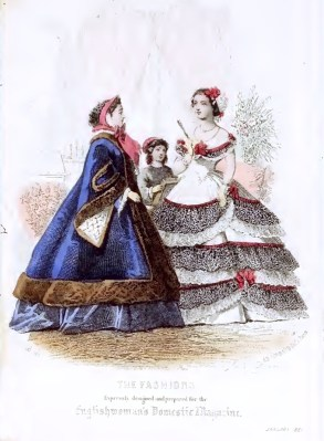 England Victorian Womens Clothing and Costume Plate. Crinoline costumes, gowns and evening dresses.