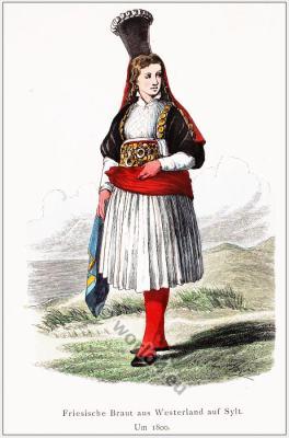 Traditional Bride costume of Westerland Sylt, Germany. Franz Lipperheide.
