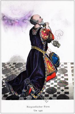Medieval Burgundian costume. 15th century gothic fashion. Franz Lipperheide.