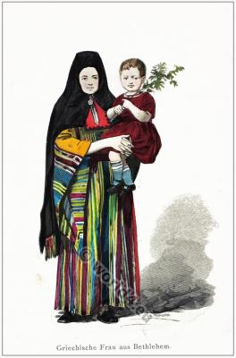 Greek woman from Bethlehem. Traditional Middle East costume. Clothing from Israel
