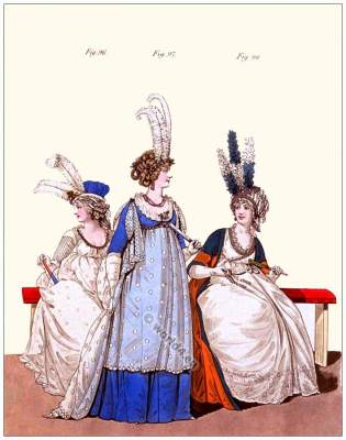 Jane Austen regency costumes. England Georgian Vintage Fashion