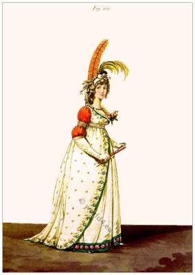 Heideloff Gallery of Fashion. Regency robe à la Turque. Jane Austen style. Regency costumes.