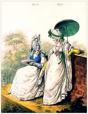 Gallery of Fashion. Regency round gowns. Georgian fashion. Jane Austen style. Regency costumes.
