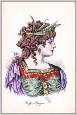 Ancient Greece hairstyle. Ancient Greek woman fashion