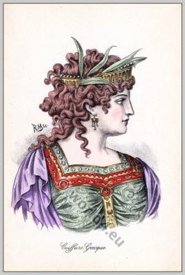 Ancient Greece fashion and hairstyle. Historical hairdos, tiara. Greek costume.