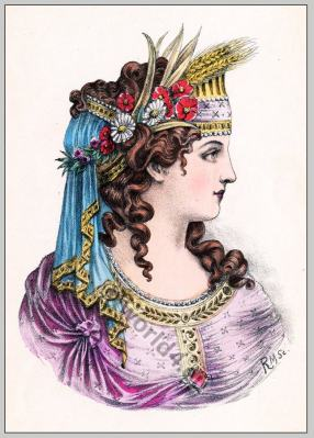 Ancient Greece hairstyle. Ancient Greek woman fashion.