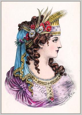 Ancient Greece fashion and hairstyle. Historical hairdos, tiara. Greek costume