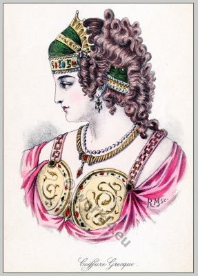 Ancient Greece fashion and hairstyle. Historical hairdos, tiara. Greek costume
