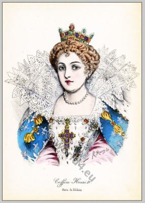 Renaissance hairstyle. French Historical hairdos. France Queen Maria de' Medici fashion.