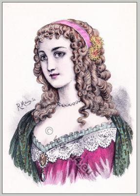 Baroque period hairstyle. French Historical hairdos. France women`s fashion. Mode des Barock.
