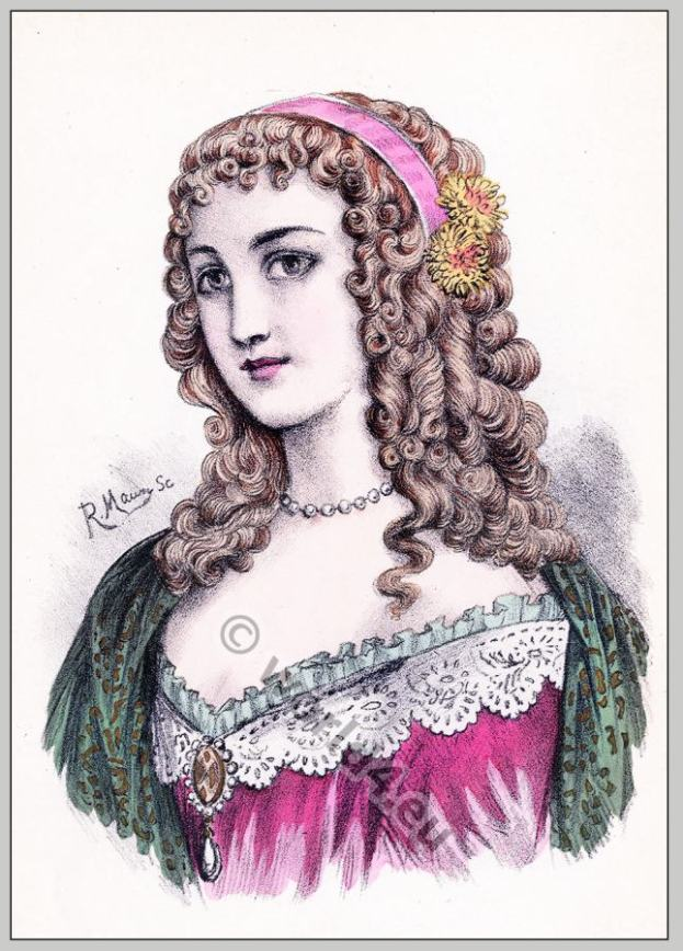 Anne of Austria. Baroque hairstyle 17th century.