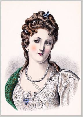 Baroque period hairstyle. French Historical hairdos. France women`s fashion. Ancien Régime costume.