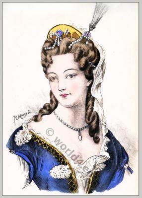 Duchesse du Maine. Marie-Adélaïde de Savoie. Baroque hairstyle 17th century. Louis XIV fashion.