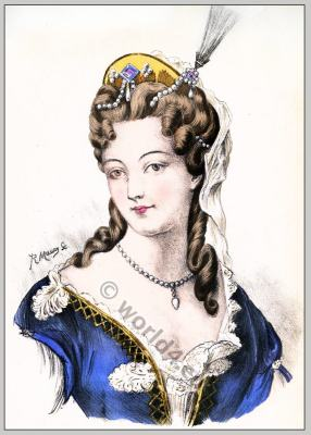 Baroque era hairstyle. French Historical hairdos. Ancien Régime costume. France Rococo fashion and Jewelry