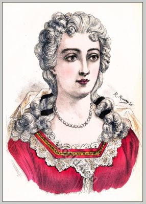 Adrienne Lecouvreur. French actress. Rococo hairstyle 18th century.