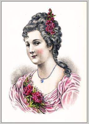 French Historical hairdos. Rococo fashion and hairstyles