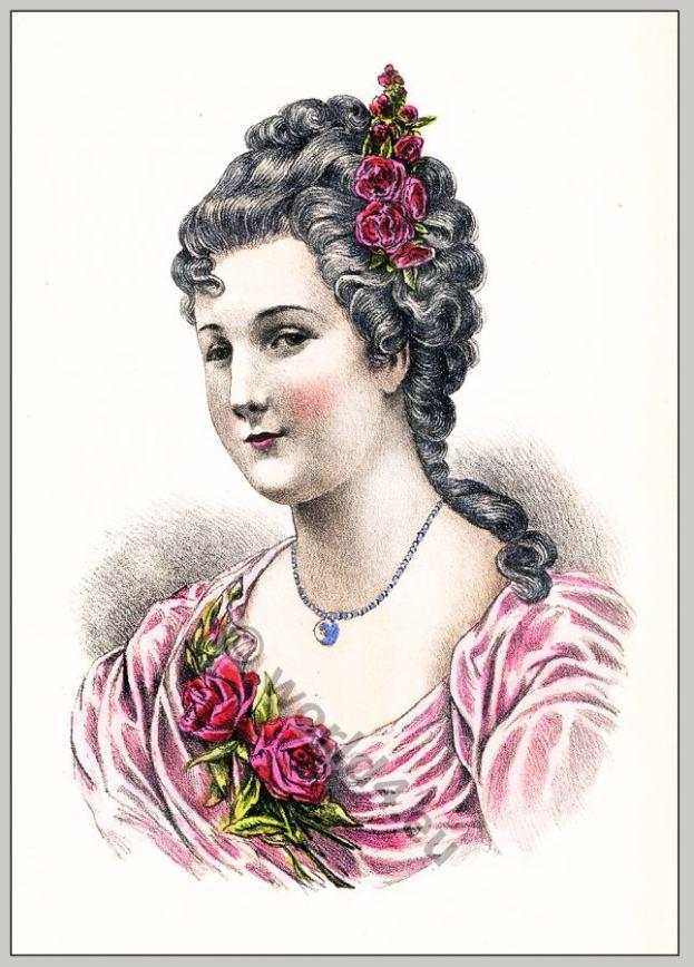 Marie Madeleine de la Vieuville, Comtesse de Parabère. Rococo hairstyle 18th century.