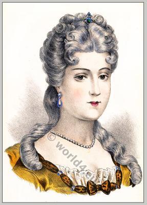 Coiffure Louis XV. Albums de coiffures historiques. Rococo fashion. Hairstyle 18th century.