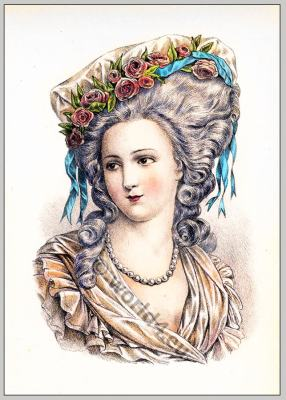 Mme. de Lamballe. Rococo hairstyle. French Historical hairdos. Court Versailles fashion