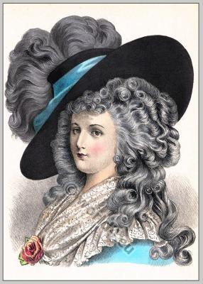Rococo hairstyle. French Historical hairdos. France women`s fashion. Mode des Rokoko