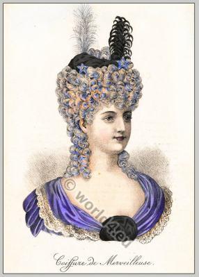 Coiffure de Merveilleuse. French revolution era, 18th century.
