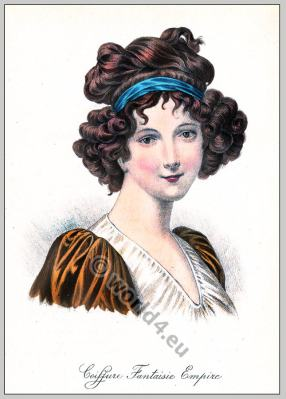 Madame Lebrun. 19th century hairstyle. First empire. Regency Biedermeier era