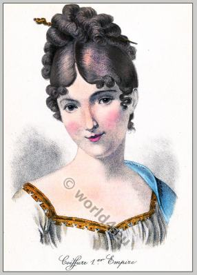 Juliette Récamier. Coiffure Premier Empire. 18th century fashion, Regency, Biedermeier era.