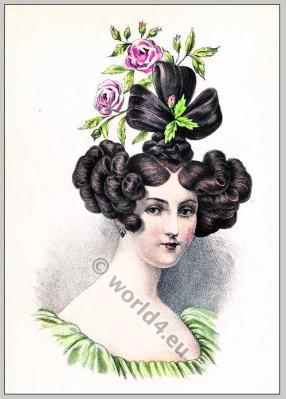 Romantic era hairstyle. 19th century fashion.