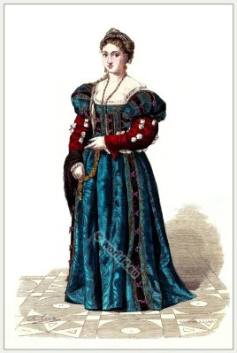 Italian Renaissance noblewoman costume.