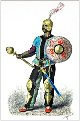 Old Persian General costume. Persia soldier full armor. Middle ages Asia army costume. Franz Lipperheide.