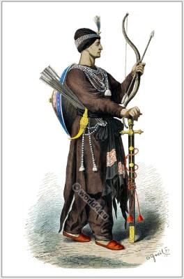 Indian archer. armour. 15th century costume. Hindu soldier. Medieval Asia military. Franz Lipperheide.