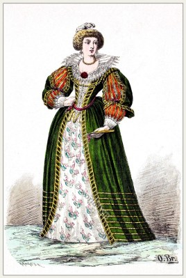 French Louis XIV. Noblewoman Baroque 17th century costume.