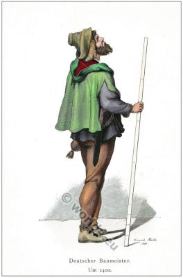 Medieval burgundian gothic costume from Germany. Middle ages clothing character design