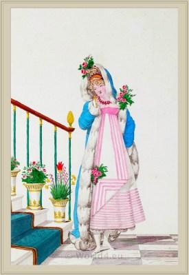 Costume de Bal. Merveilleuses. France directoire, regency era fashion. Horace Vernet.