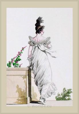 Merveilleuses Costume Robe Garnie en Chicorée. France directoire, regency era fashion. Horace Vernet.