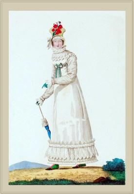 Merveilleuse Costume Robe garnie de Bouillonnés. France directoire, regency era fashion. Horace Vernet.
