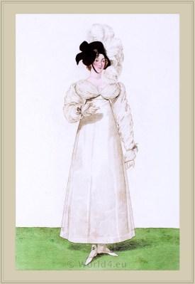 Costume Robe à la Ninon. Chapeau à l'Anglaise. Merveilleuses. France directoire, regency era fashion. Horace Vernet.