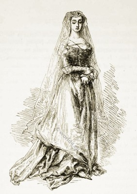 Agnes Sorel. Medieval nobility fashion. French courtesan. Middle ages gothic costumes
