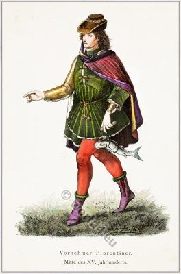 Florentine Nobleman. Florence Renaissance costume 15th Century. Costume design: historical and folk costumes. Franz Lipperheide.